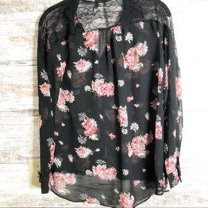 Lauren Conrad Dark floral lace yoke top S